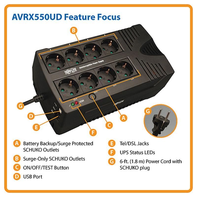 Сверхкомпактный линейно-интерактивный ИБП Tripp Lite серии AVR мощностью 550 ВА / 300 Вт, AVRX550UD