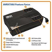 Сверхкомпактный линейно-интерактивный ИБП Tripp Lite серии AVR мощностью 750 ВА / 450 Вт, AVRX750U