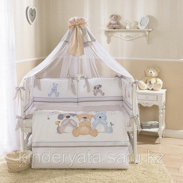 Комплект для кроватки Perina Венеция Три друга (7 предметов), белый