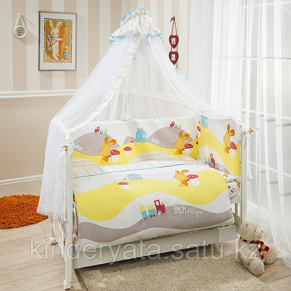 """Комплект в кроватку  Perina """"Кроха"""" 7 предметов, Кролик белый"""