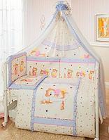 Детский постельный комплект 7 предметов «Ника» Мишка на подушке, голубой