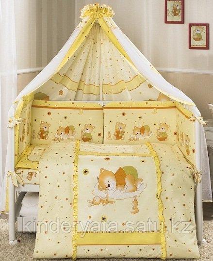 Детский постельный комплект 7 предметов «Ника» Мишка на подушке, желтый