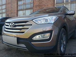 Защита радиатора Hyundai Santa Fe 2012-2015 chrome