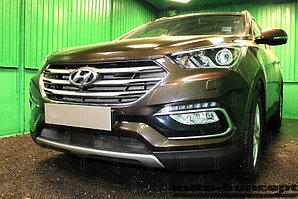 Защита радиатора Hyundai Santa Fe 2015- с датчиком ACC black