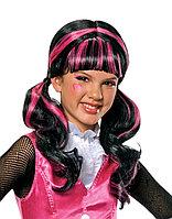 Парик Monster High (Монстер Хай) Дракулаура черный с розовыми прядями