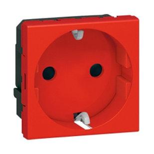77214 - Розетка 2М, с Механической Блокировкой, Красная