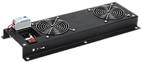 ITK Вентиляторная панель с выключателем и термостатом 3 модуля черная