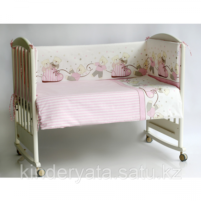 Бортик в кроватку Pituso Мишки розовый
