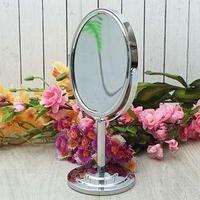 Овальное двустороннее настольное вращающееся зеркало на подставке