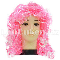 Парик двухцветный 55 см (розово-белые локоны)