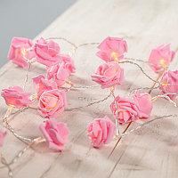 """Гирлянда """"цветные розы """"  (Розовый) НА РОЗЕТКАХ , фото 1"""
