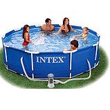 Каркасный сборный бассейн Intex Metal Frame Pool. 305 х 76 см. с фильтром, фото 5