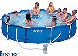 Каркасный сборный бассейн Intex Metal Frame Pool. 366 х 76см. с фильтром, фото 4