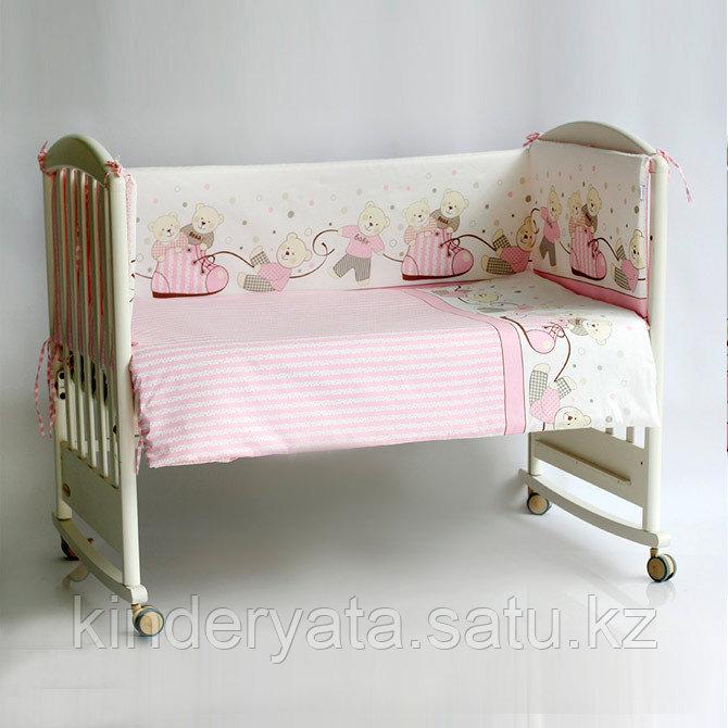 Комплект в кровать PITUSO  (6 предметов), МИШКИ Розовый