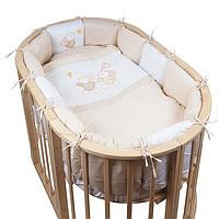 Pituso  Комплект для овальной кроватки (борт-подушки) На лужайке 6 предметов