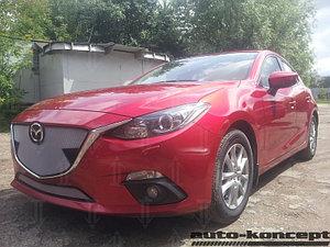 Защита радиатора Mazda 3 2013- chrome верх с парктроником