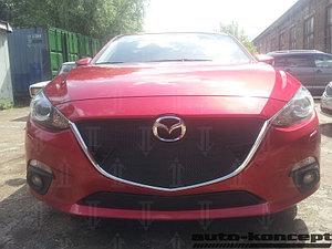 Защита радиатора Mazda 3 2013- black верх с парктроником
