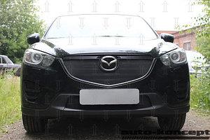 Защита радиатора Mazda CX5 2015-2017 black верх