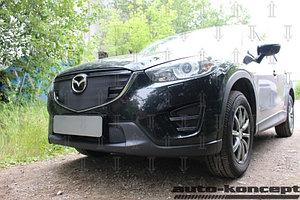 Защита радиатора Mazda CX5 2012-2014 black с парктроником верх