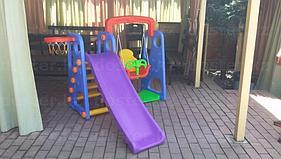 Детские качели.Детская горка 3 в 1.Горка+качеля+баскетбольное кольцо