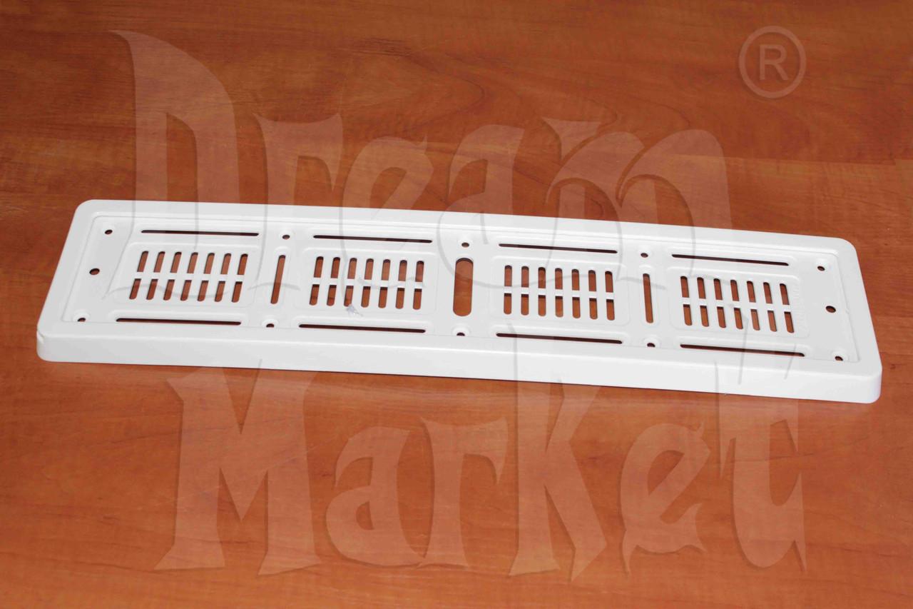 Рамка для номера, пластик, белая, монолитная