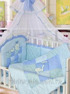 Комплект для кроватки Золотой Гусь Кошки-Мышки, голубой
