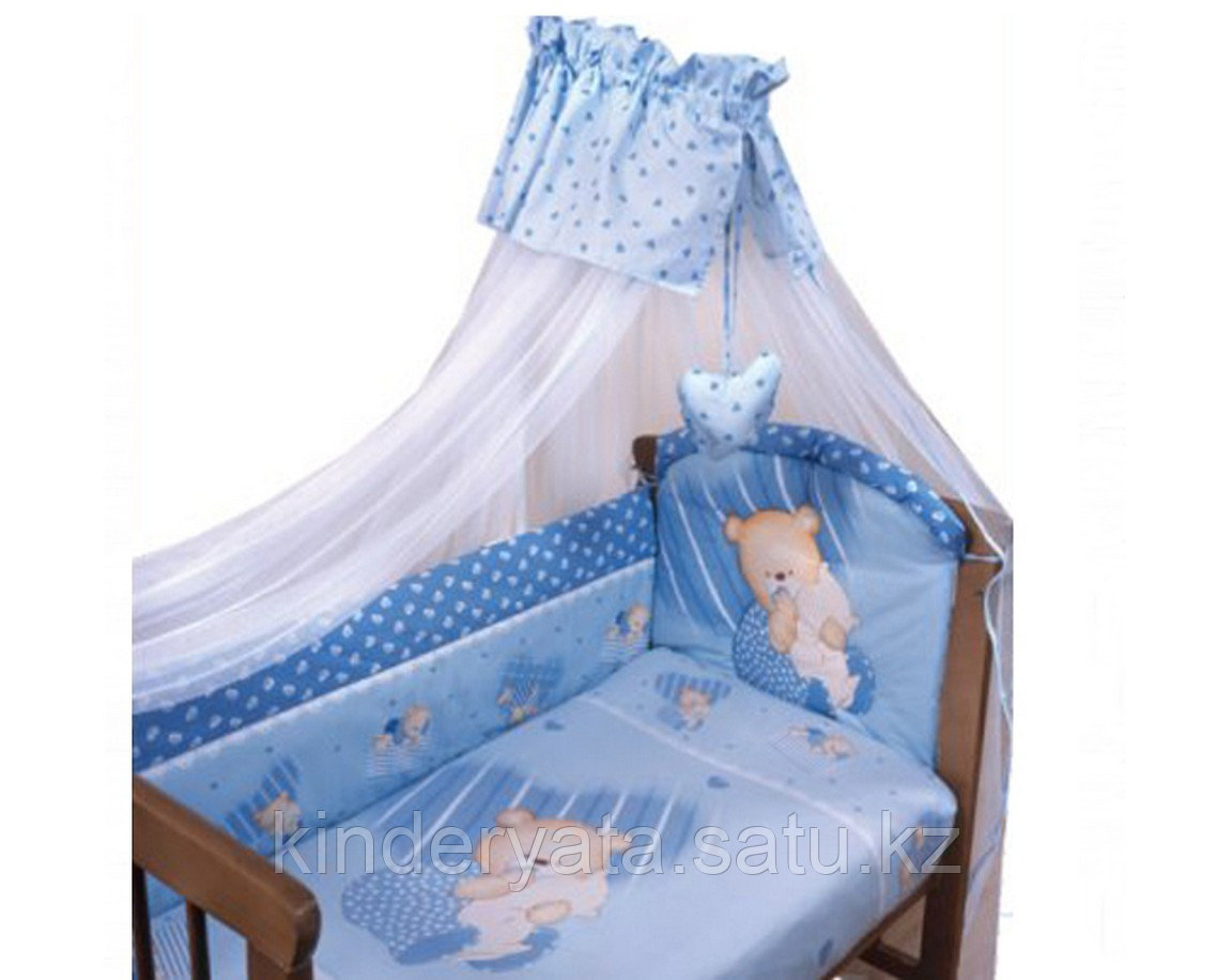 """Комплект в кроватку """"Мишутка"""", 7 предметов голубой"""