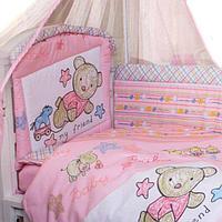 Комплект для кроватки Золотой Гусь Zoo Bear 7 предметов, розовый