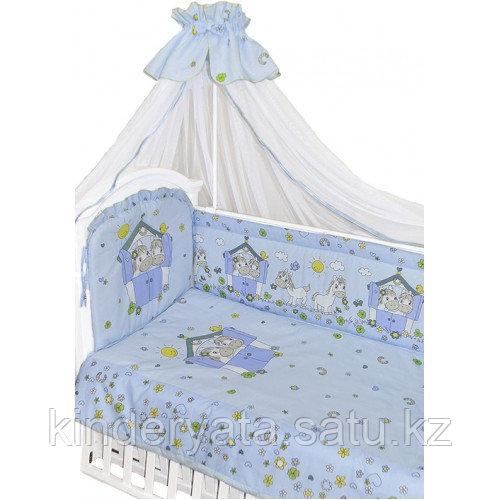 Комплект для кроватки Золотой Гусь Лошадки, голубой