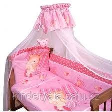 """Комплект в кроватку """"Мишутка"""", 7 предметов розовый"""