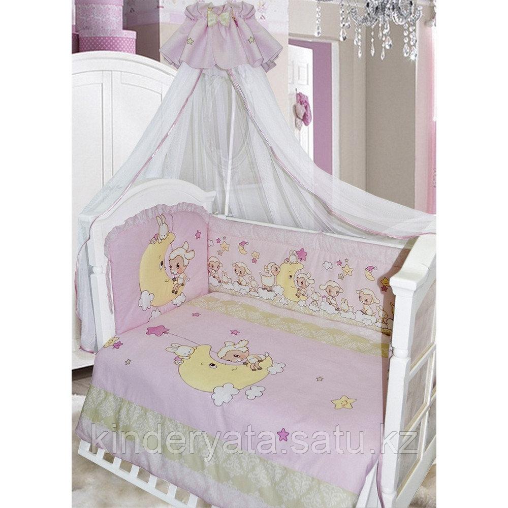 Комплект для кроватки Золотой Гусь Овечка на луне, розовый