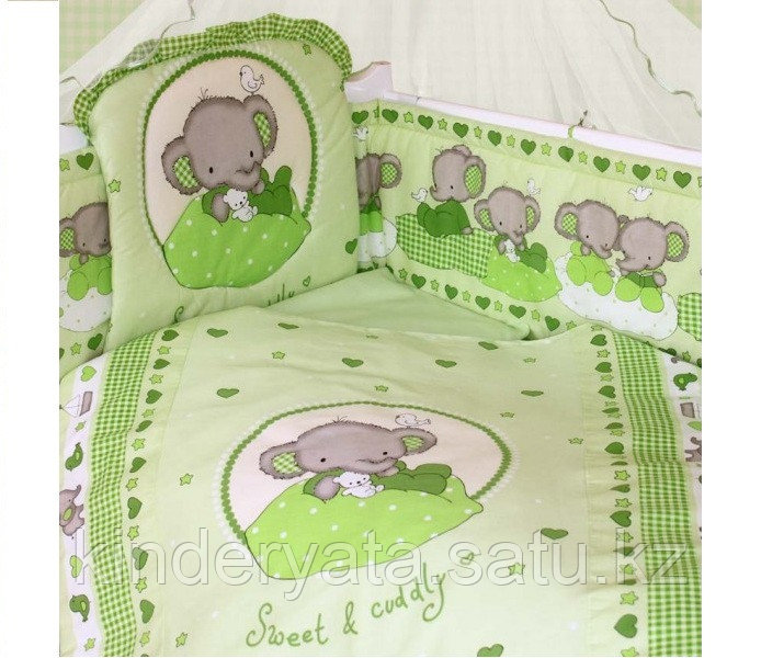 Комплект для кроватки Золотой Гусь Слоник Боня, зеленый
