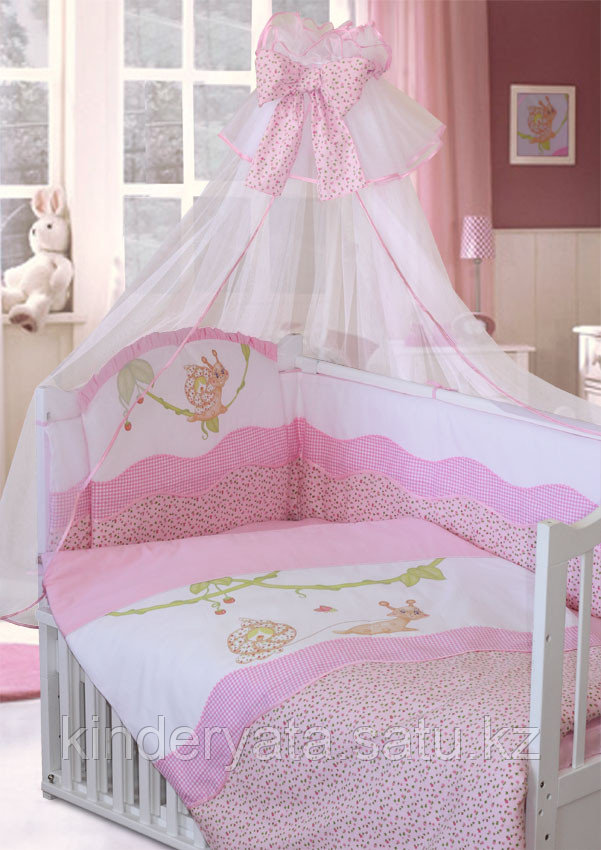 Комплект для кроватки Золотой Гусь Улыбка, розовый