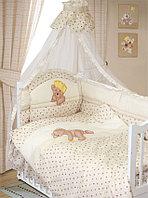 Комплект в кроватку Мишка царь 8 предметов, бежевый