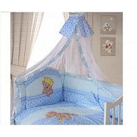 Комплект в кроватку Мишка царь 8 предметов, голубой