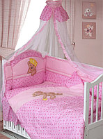 Комплект в кроватку Мишка царь 8 предметов, розовый