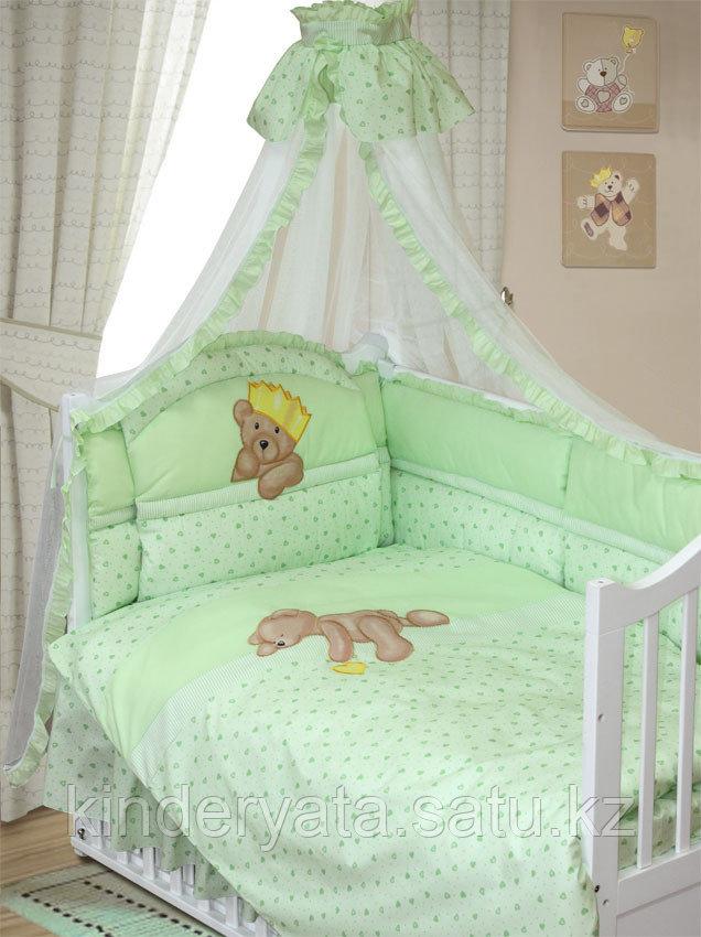 Комплект в кроватку Мишка царь 8 предметов, зеленый
