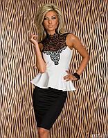 Шикарное черно-белое платье баска  с кружевом