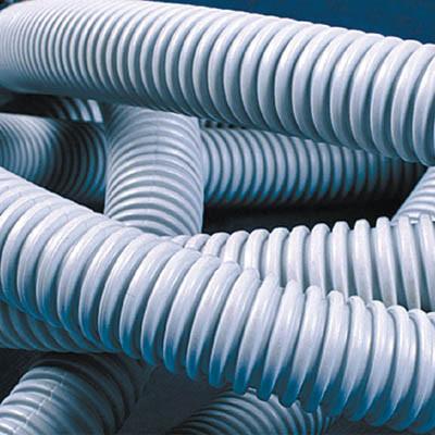 Труба ПВХ гибкая гофр. д.40мм, лёгкая с протяжкой, 20м, цвет серый