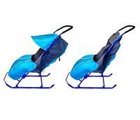 НИКА Cанки-коляска ТИМКА 2+ (плос полозья,подножка,перек. ручка,чехол д/ног,светоотр.кант) Лаванда