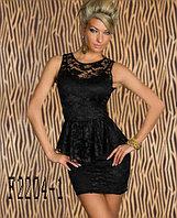 Кружевное сексуальное баски платье черное