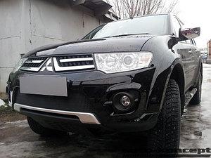 Защита радиатора Mitsubishi L200 2014-2015 (калуга)/Pajero Sport 2013-2016 (калуга) black