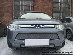 Защита радиатора Mitsubishi Outlander III 2012-2014 (2 части) chrome