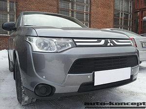 Защита радиатора Mitsubishi Outlander III 2012-2014 (2 части) black