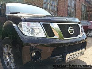 Защита радиатора Nissan Pathfinder (NAVARA) 2011-2014 black низ