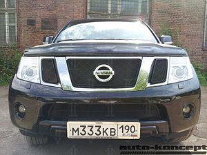 Защита радиатора Nissan Pathfinder (NAVARA) 2012-2014 black верх