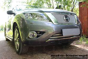 Защита радиатора Nissan Pathfinder 2014- (2 части) chrome низ