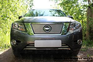 Защита радиатора Nissan Pathfinder 2014- chrome верх