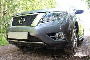 Защита радиатора Nissan Pathfinder 2014- (2 части) black низ