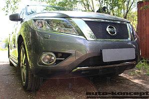 Защита радиатора Nissan Pathfinder 2014- black верх